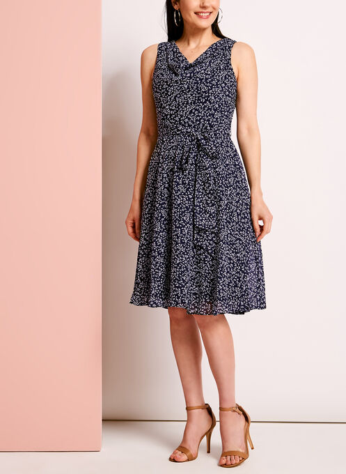 Ditsy Print Drape Front Fit & Flare Dress, Blue, hi-res