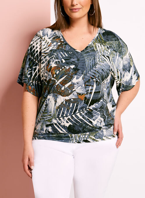 Tropical Palm Print Cutout Jersey Top, Green, hi-res