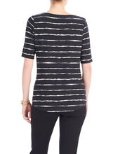 Striped Boat Neck Top, Black, hi-res