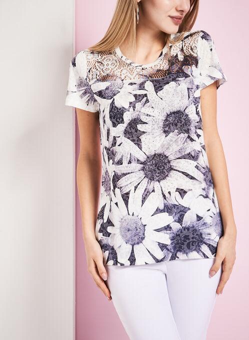 Crystal Embellished Daisy Print T-Shirt, Grey, hi-res