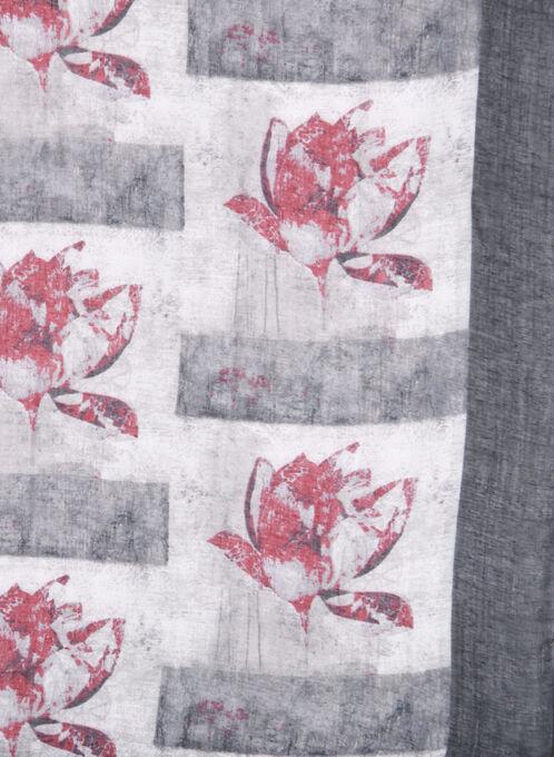 Floral Print Oblong Scarf, Black, hi-res