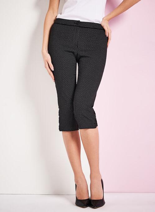 Bow Detail Graphic Print Capri Pants, Black, hi-res