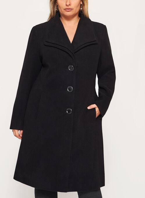 Double Collar Wool Like Coat, Black, hi-res