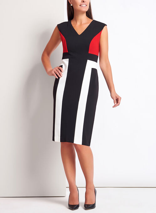 Colour Block Piqué Knit Dress