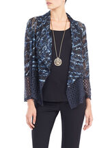 Cut & Sew Perforated Long Sleeve Flyaway Cardigan, Blue, hi-res