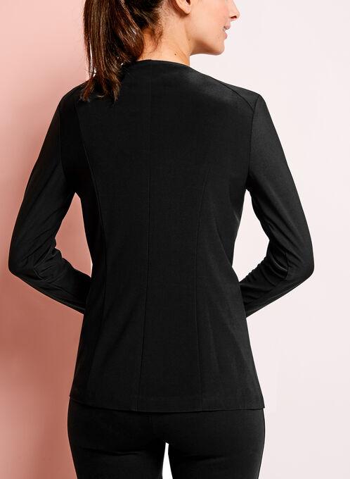 Asymmetrical Zipper Trim Jacket , Black, hi-res
