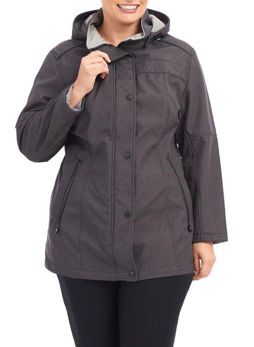 Softshell Detachable Hood Jacket, Grey, hi-res