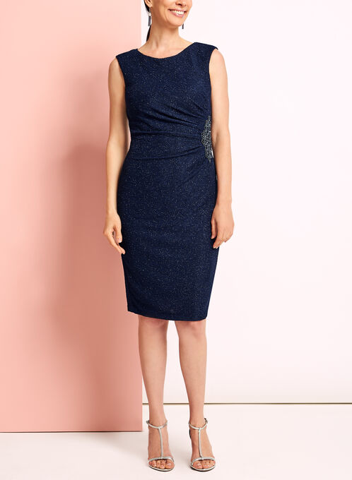 Glitter Knit Beaded Appliqué Dress, Blue, hi-res