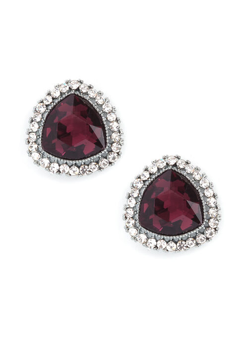 Crystal Ruby Effect Earrings, Purple, hi-res
