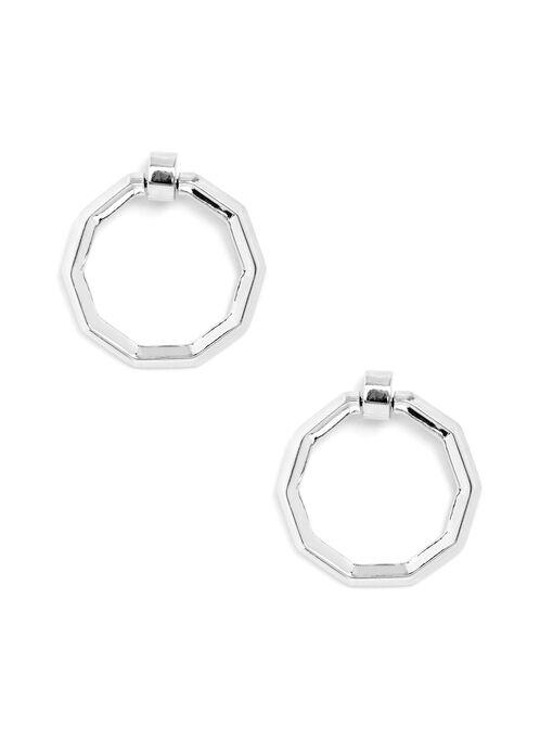 Geometric Hoop Earrings, Silver, hi-res