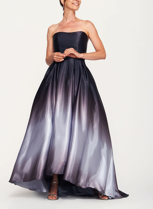 Ombré High-Low Satin Ball Gown, Grey, hi-res