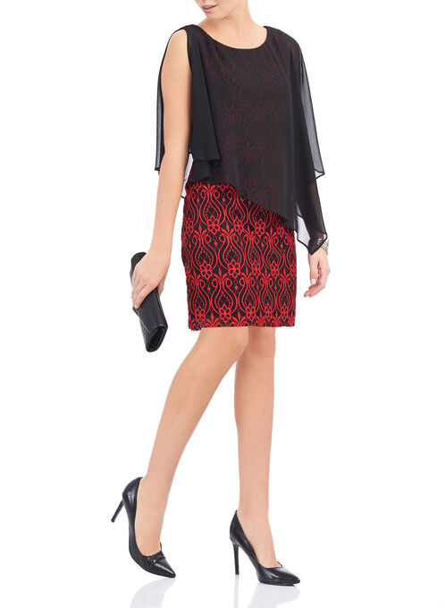 Sleeveless Lace Poncho Dress, Red, hi-res