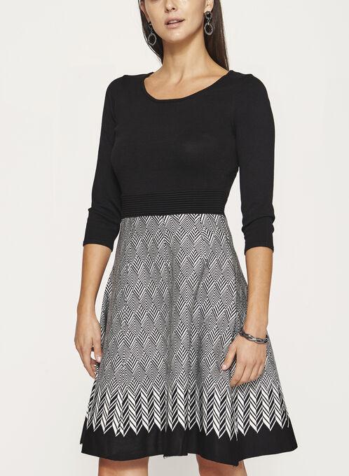 Fit & Flare Knit Dress, Black, hi-res