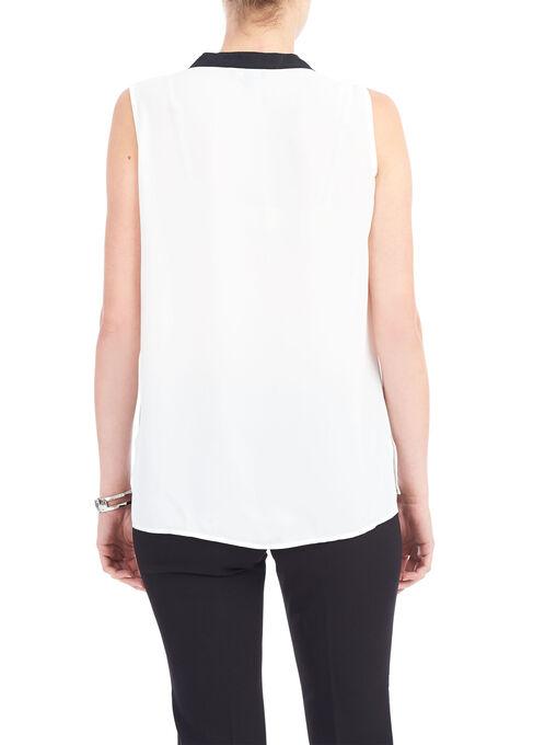 Sleeveless Colour Block Blouse, White, hi-res