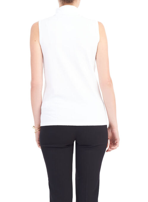 Sleeveless Knit Turtleneck, Off White, hi-res