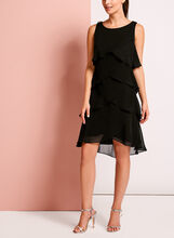 Beaded Trim Chiffon Tiered Dress, Black, hi-res