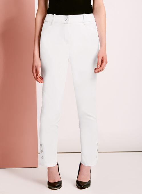 Sateen Grommet Trim 7/8 Pants, White, hi-res
