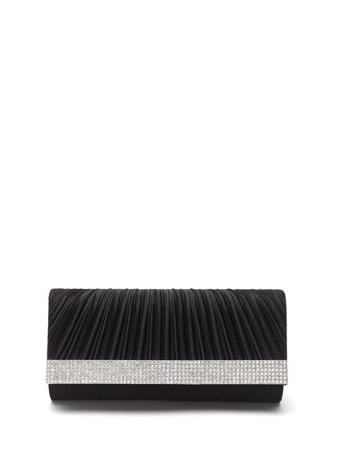 Pleated Satin Foldover Clutch, Black, hi-res