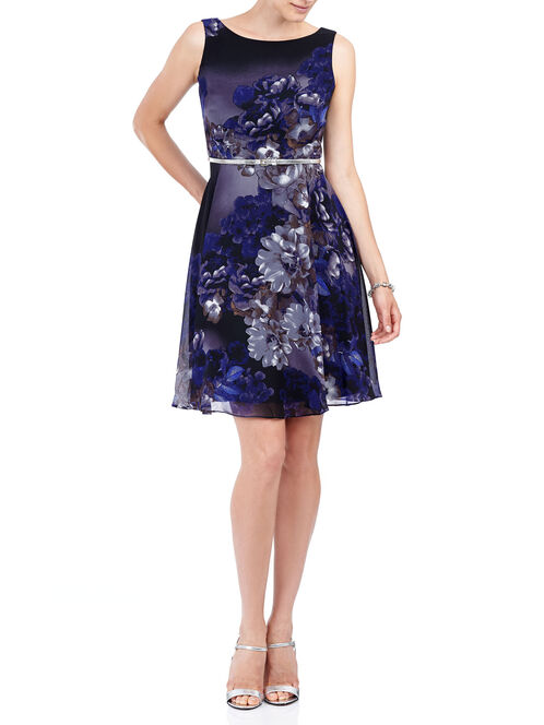 Sleeveless Belted A-Line Dress, Purple, hi-res
