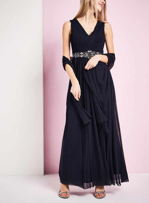 Pleated Crystal Embelished Gown with Sheer Shawl, Blue, hi-res