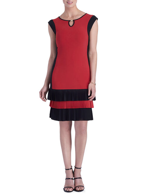Sleeveless Tiered Gold Trim Dress, Red, hi-res