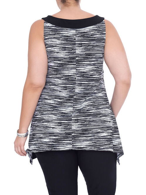 Sleeveless Metal Trim Tunic Top, Black, hi-res
