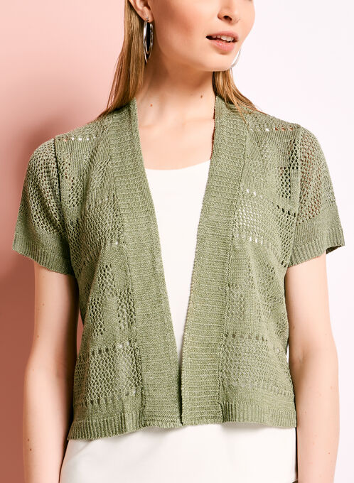 Linen Blend Pointelle Cardigan, Green, hi-res