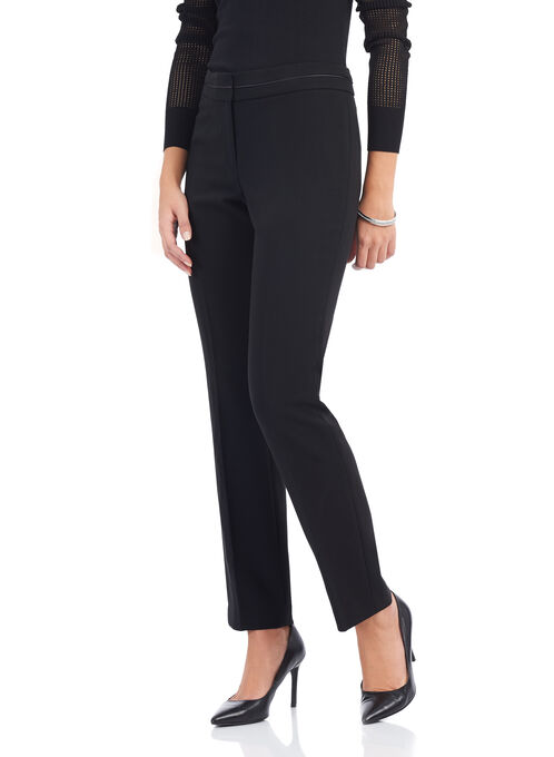 Panelled Waist Straight Leg Pants, Black, hi-res