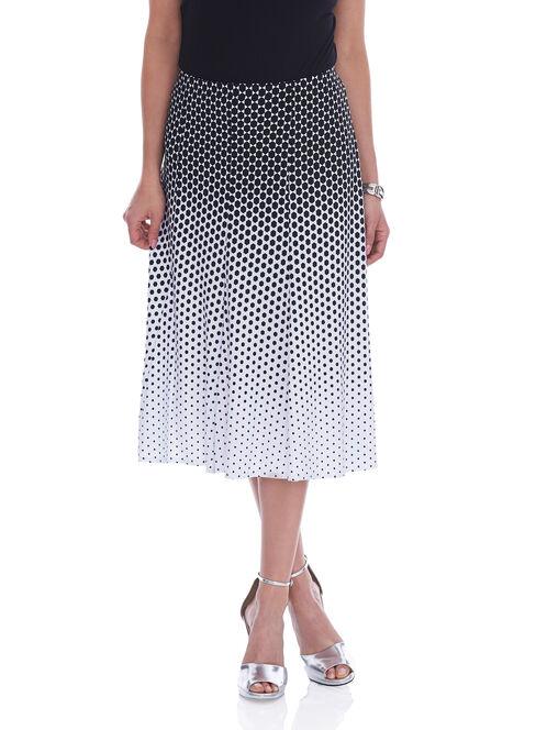 Geo Print A-Line Skirt, Black, hi-res