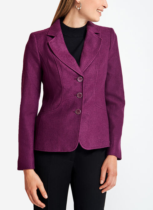 Three-Button Wool Jacket, Purple, hi-res