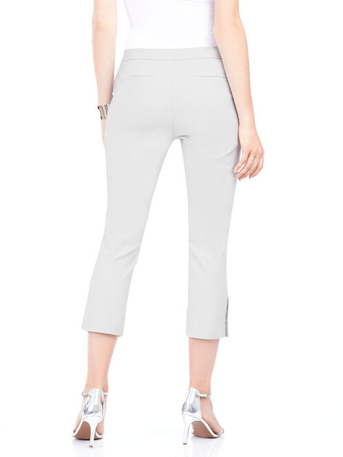 Stud Trim Capri Pants, Grey, hi-res