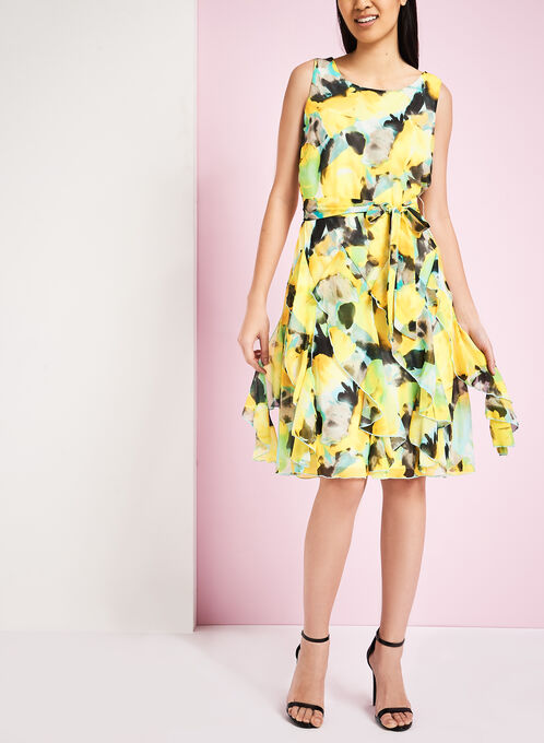 Watercolour Print Fit & Flare Dress, Yellow, hi-res