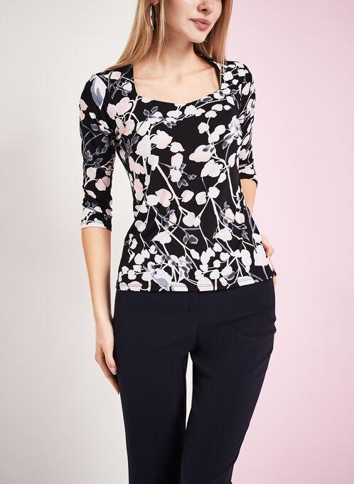 3/4 Sleeve Floral Print Top, Black, hi-res