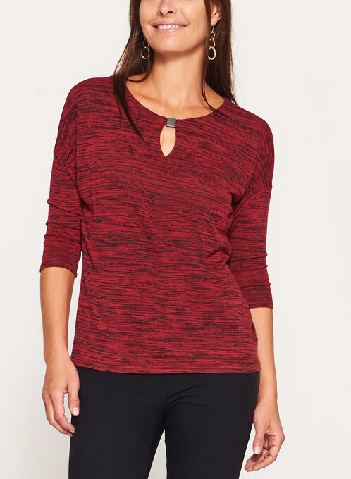 3/4 Dolman Sleeve Heather Knit Top, Red, hi-res