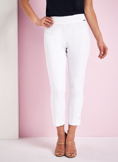 Bengaline Pin Tuck Pants, White, hi-res