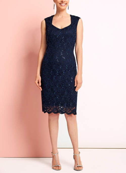 Sleeveless Sequin Lace Dress, Blue, hi-res