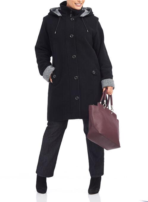 Tweed & Wool Hooded Coat , Black, hi-res