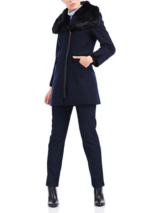 Via Spiga Melton Wool Coat, Blue, hi-res