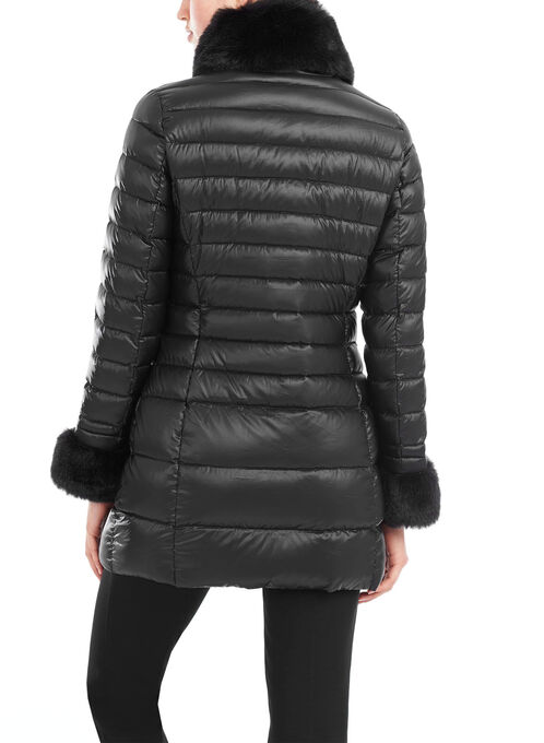 Lightweight Faux Fur Trim Down Coat, Black, hi-res