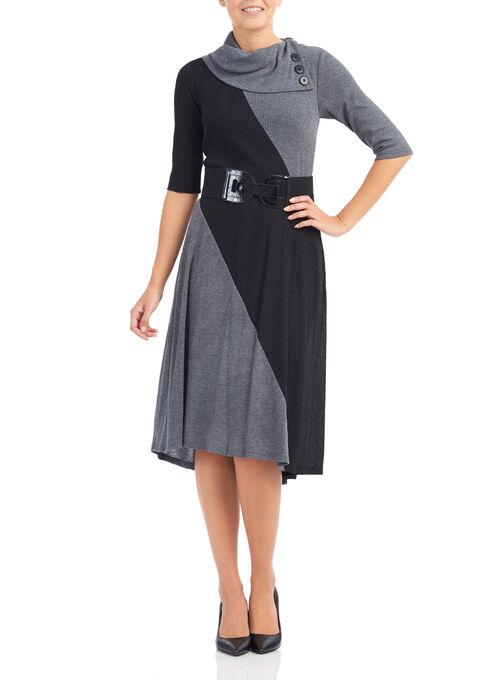 Ribbed Split Neck Dress, Black, hi-res