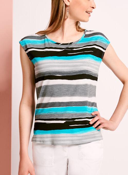 Stripe Print Button Back Top, Blue, hi-res