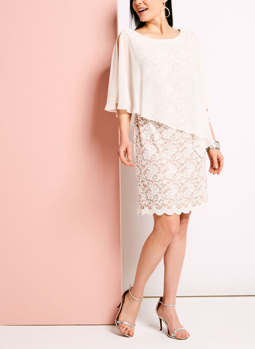 Cold Shoulder Lace Poncho Dress, White, hi-res