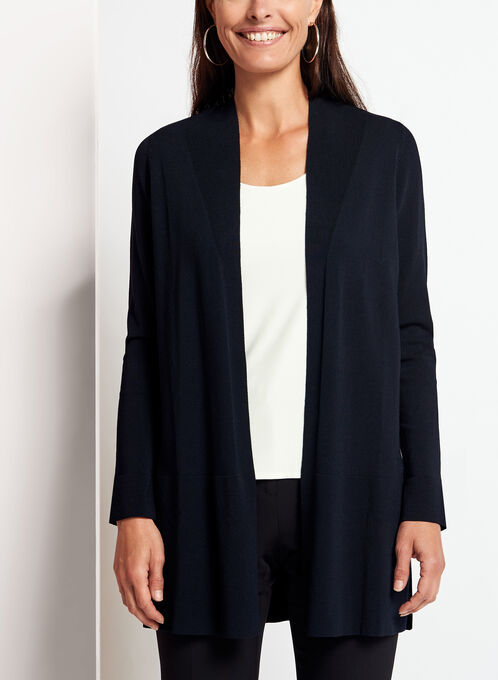 Open Front Side Slit Cardigan , Blue, hi-res