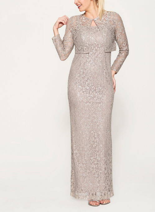 Foil Lace Dress with Bolero, Brown, hi-res