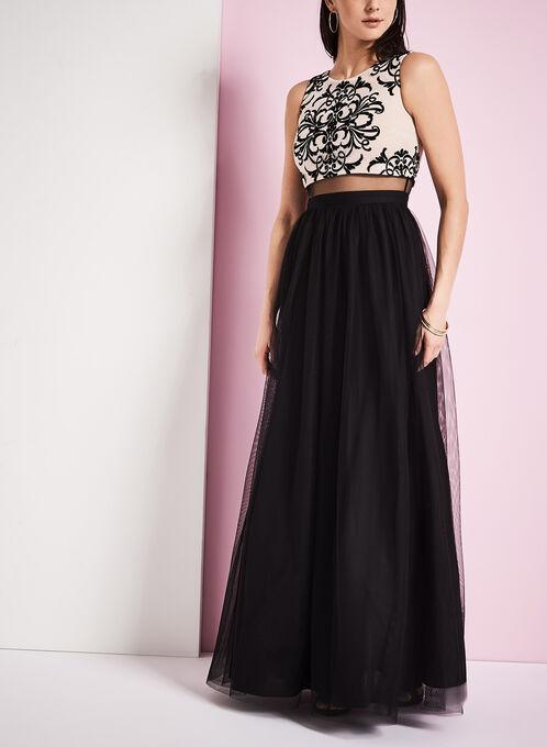 Sleeveless Mesh & Crinoline Evening Dress, Black, hi-res