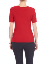 Knit Crew Neck Pullover, Red, hi-res