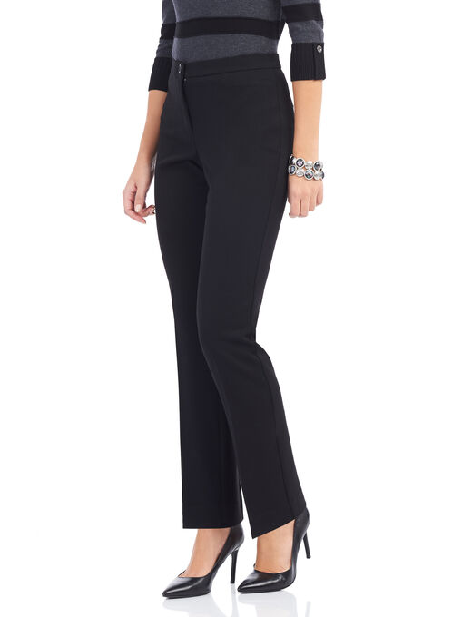 Tummy Control Straight Leg Pants, Black, hi-res