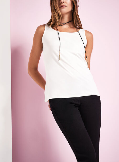 Basic Scoop Neck Tank Top, Off White, hi-res
