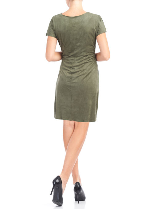 Faux Suede Grommet Detail Dress, Green, hi-res
