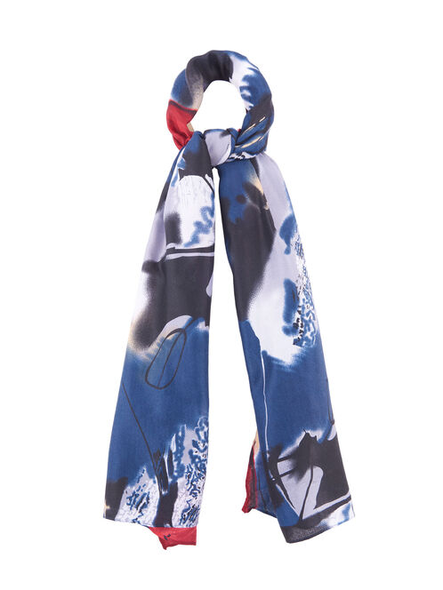 Abstract Print Oblong Scarf, Blue, hi-res